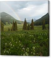 Evening Rainbow In The Rocky Mountains Canvas Print