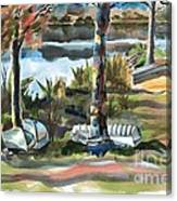 Evening Shadows At Shepherd Mountain Lake  No W101 Canvas Print