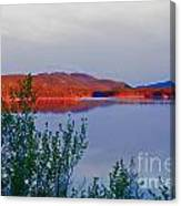 Evening Sun Glow On Calm Twin Lakes Yukon Canada Canvas Print
