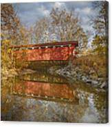 Everett Rd. Covered Bridge In Fall Canvas Print