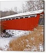 Everett Rd. Covered Bridge In Winter Canvas Print