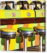 Evergreen State Fair Midway Game With Coloful Stools And Squirt  Canvas Print