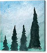 Evergreens On Green And Blue Landscape #1 Canvas Print