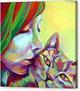 Evi And The Cat Canvas Print
