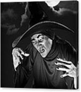Evil Witch Under A Full Moon Canvas Print