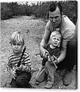 Ex Green Beret Barry Sadler In Target Practice With Son's Thor And Baron Tucson Arizona 1971 Canvas Print
