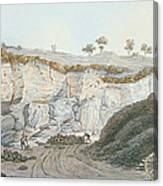 Excavations Of A Thick Stratum Of Lava Canvas Print