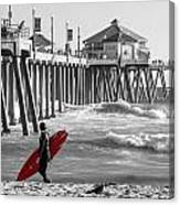 Existential Surfing At Huntington Beach Selective Color Canvas Print