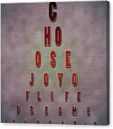Eyechart Inspiring Typography Art Canvas Print
