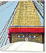 Eyes Of Buudha Boudhanath Stupa In Kathmandu-nepal  Canvas Print