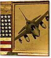 F-16 Fighting Falcon Rustic Flag Canvas Print