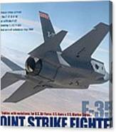 Lockheed Martin F-35 Joint Strike Fighter Lightening II With Text Canvas Print