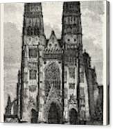 Facade Of The Metropolitan Church Of Tours Canvas Print