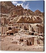 facade street in Nabataean ancient town Petra Canvas Print