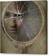 Face In Broken Mirror Canvas Print