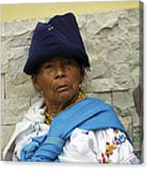 Face Of Ecuador Woman At Cotacachi Canvas Print