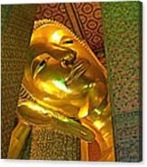 Face Of Reclining Buddha In Wat Po In Bangkok-thailand Canvas Print