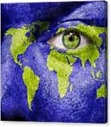 Face The World Map Canvas Print