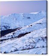 Fairfield Covered In Snow At Sunset Canvas Print