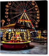 Fairground At Night Canvas Print