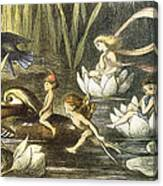 Fairies And Water Lilies Circa 1870 Canvas Print