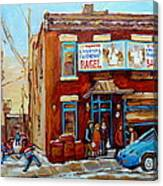 Fairmount Bagel In Winter Montreal City Scene Canvas Print