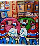 Fairmount Bagel Street Hockey Game Canvas Print