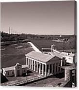 Fairmount Waterworks And Dam In Sepia Canvas Print