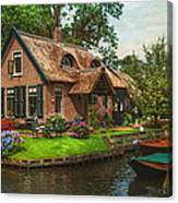 Fairytale House. Giethoorn. Venice Of The North Canvas Print