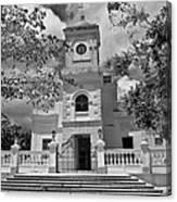 Fajardo Church And Plaza B W 3 Canvas Print