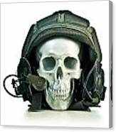 Fake Skull Wearing A Military Pilot Helmet Canvas Print