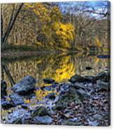 Fall Along The Scenic River Canvas Print