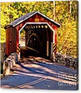 Fall At Kurtzs Mill Covered Bridge Canvas Print