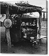 Fall Cattle Round-up Tohono O'odham Reservation Cook's Work Area Hanging Meat For Curing Near Sells  Canvas Print