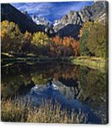 Fall Color And Reflection Below Middle Palisades Glacier California Canvas Print