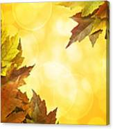 Fall Color Maple Leaves Background Border Canvas Print