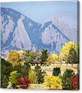 Fall Colors Along The Flatirons Canvas Print