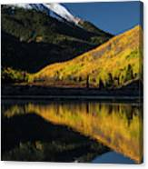 Fall Colors And Red Mountain Reflected Canvas Print