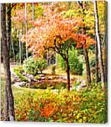 Fall Folage And Pond Canvas Print