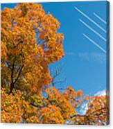 Fall Foliage With Jet Planes Canvas Print