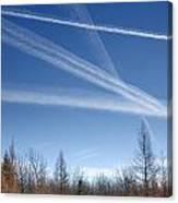 Fall Landscape With Jet Vapor Trails Canvas Print