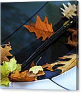 Fall Leaves On A Car Canvas Print