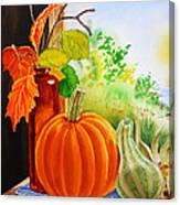 Fall Leaves Pumpkin Gourd Canvas Print