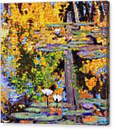Fall Lily Pond Reflections Canvas Print