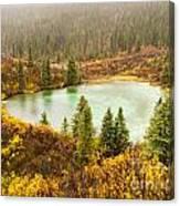 Fall Rain On Wilderness Lake Yukon T Canada Canvas Print