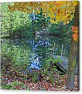 Fall Scene By Pond Canvas Print