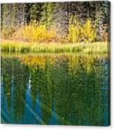 Fall Sky Mirrored On Calm Clear Taiga Wetland Pond Canvas Print