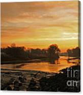 Fall Sunrise On The Red River Canvas Print