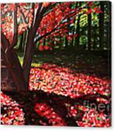 Falling Red Leaves Canvas Print