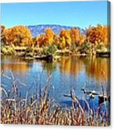 Fall's Reflection On The Rio Grande Canvas Print